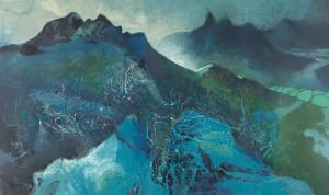 劉國松 LIU Kuo-sung  《溢出的不是月色?》Not the Color of the Moon?   絲網 Silkscreen (版數 Edition of 100) 2014, 100 x 60 cm