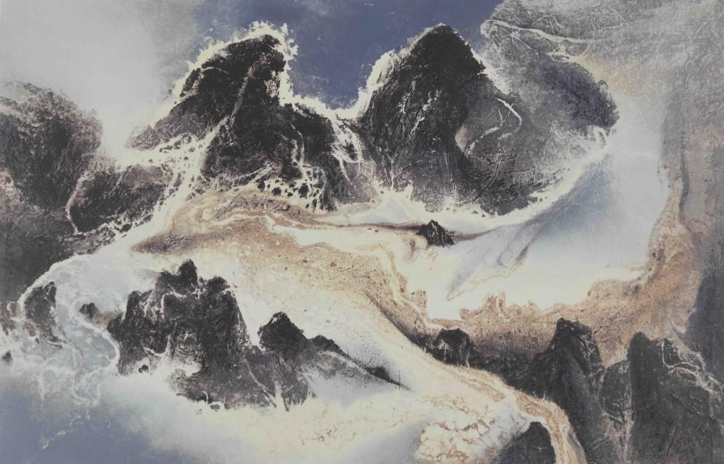 劉國松 LIU Kuo-sung 《雲水一家》Water and Cloud Share the Same Source   絲網 Silkscreen (版數 Edition of 100) 2014, 65 x 100 cm